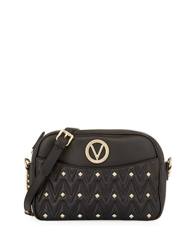 Leather Quilted Rockstud Shoulder Bag