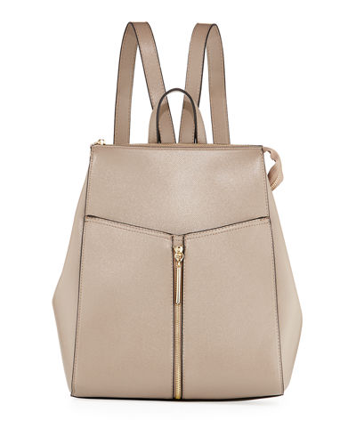 Saffiano Framed Zip Top Backpack