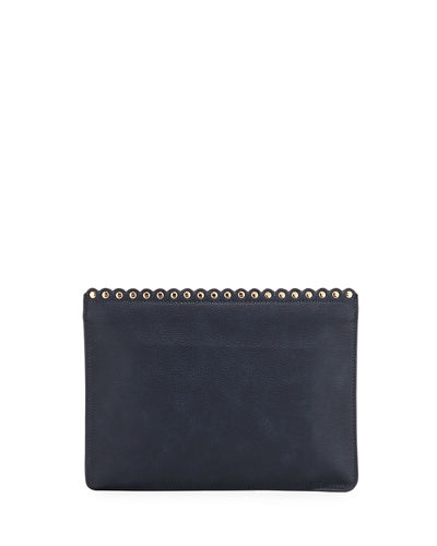Pebbled Scallop Stud Pouch Bag