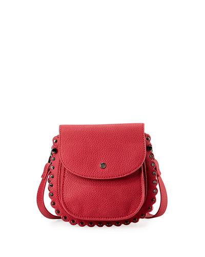 Scalloped Faux-Leather Saddle Bag