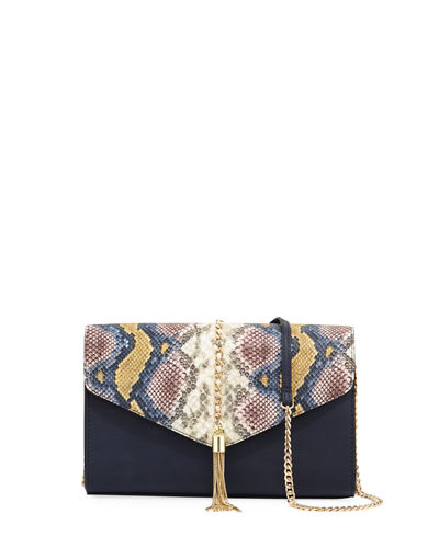Margaret Snake-Print Chain Clutch Bag