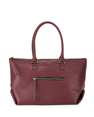 Neiman Marcus Laura Zip Top Faux Leather Tote Bag