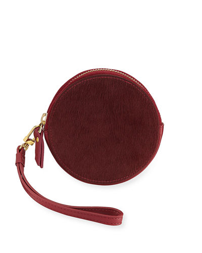 Round Calf-Hair Coin Purse