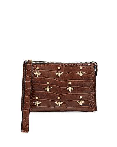 Bee Charm Croc-Embossed Faux-Leather Wristlet Pouch