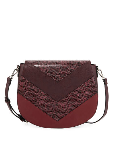 Becca Chevron Snake-Embossed Large Saddle Bag