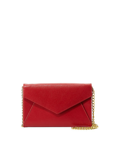 Saffiano Leather Envelope Flap Wallet on Chain