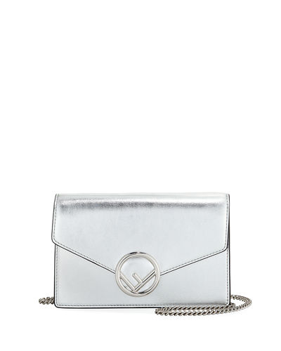 F Logo Mirror Calf Wallet On A Chain,