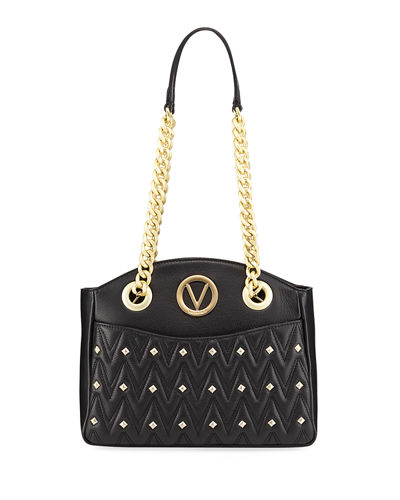 Camelie D Studs Quilted Sauvage Leather Shoulder Bag
