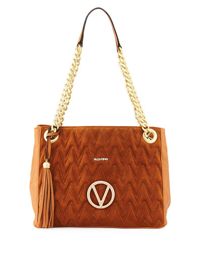 Luisa Suede/Leather Quilted Tote Bag