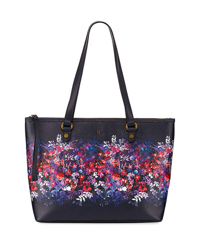 Aria Floral-Print Shoulder Tote Bag