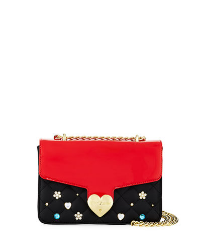 Embellished Quilted Chain-Strap Shoulder Bag