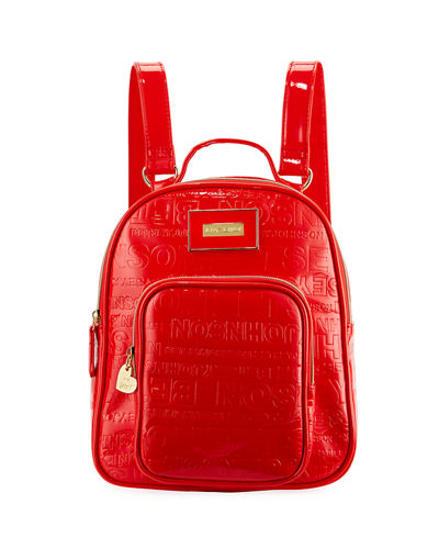 Logo-Embossed Faux-Leather Backpack