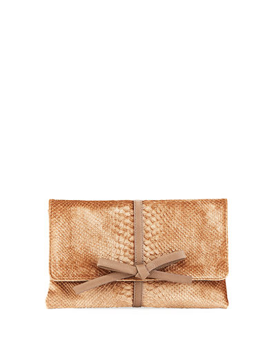 Snake-Embossed Velvet Clutch Bag
