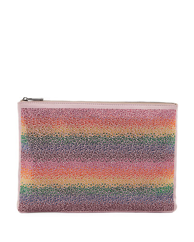 Rainbow Crystal Beaded Flat Pouch Bag