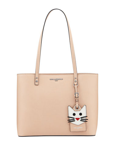 Karl Lagerfeld Maybelle Saffiano Tote Bag Poeny