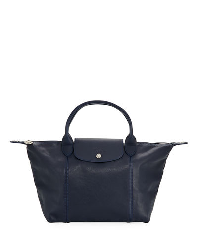Le Pliage Cuir Small Leather Top-Handle Bag with Strap