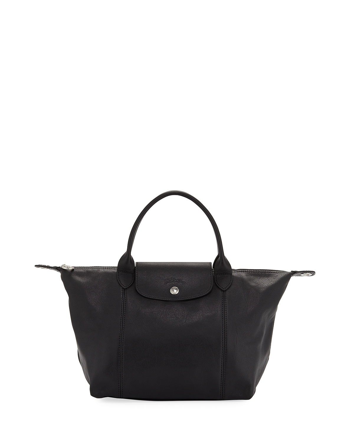 Longchamp Bags Le Pliage Cuir Small Leather Top-Handle Bag with Strap, NERO
