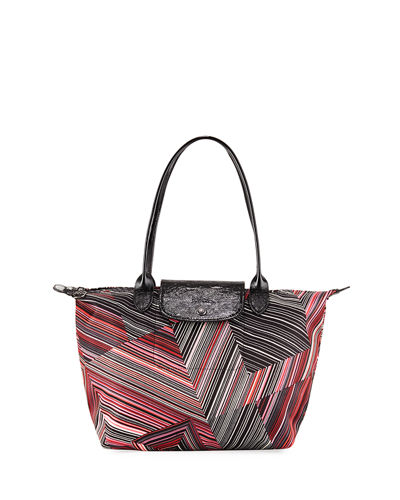 Op Art Mixed-Print Shoulder Tote Bag