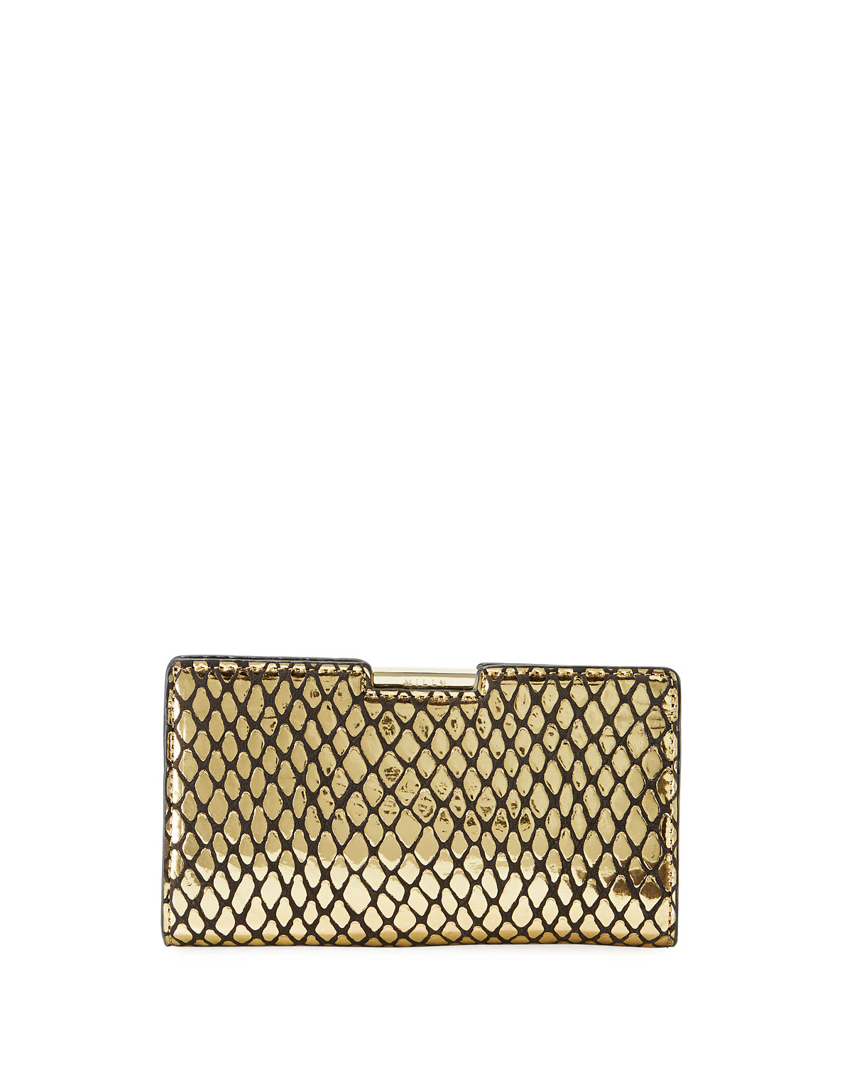 Metallic Reptile Embossed Framed Clutch Bag