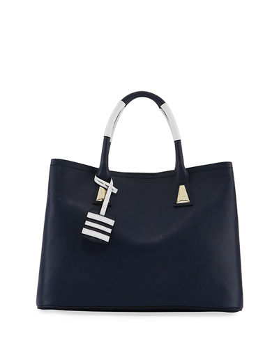 Contrast Pop Faux Satchel Bag