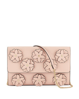 3D FLORAL FLAP CLUTCH BAG WITH CHAIN