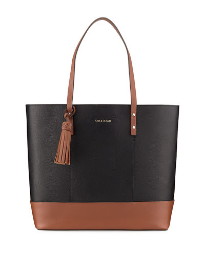 Bayleen Two-Tone Leather Tote Bag