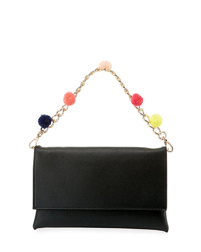Pompom Chain Clutch Bag