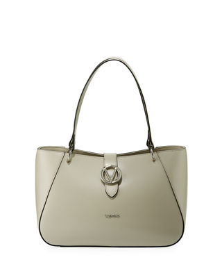 Charlotte Soave Leather Shoulder Tote Bag, Sand