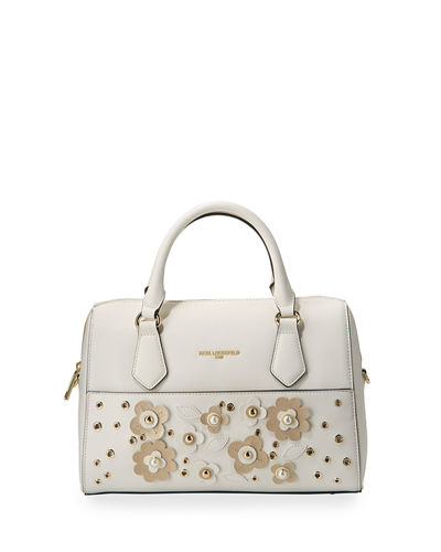 Willow Saffiano Flower Applique Satchel Bag