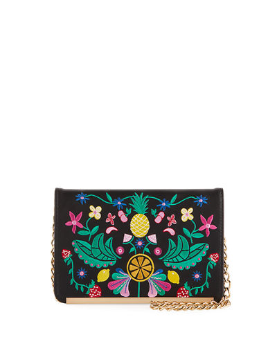 Fruitful Floral-Embroidered Crossbody Bag