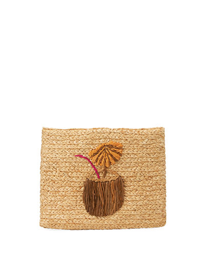 Whimsical Ice Cream Raffia Clutch Bag