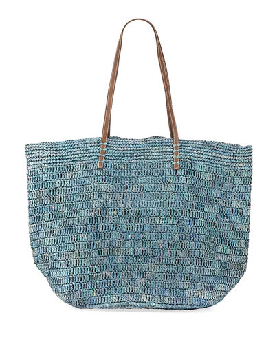 Ibiza Striped Woven Raffia Shoulder Tote Bag