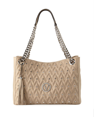 Verra D Quilted Sauvage  Leather Tote Bag