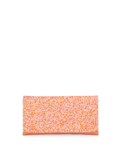 Slim Beaded Flap Clutch Bag