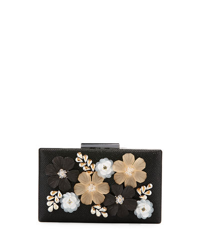 3-D Floral Evening Box Clutch Bag