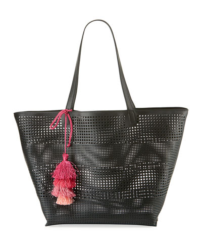 Perforated Shoulder Tote Bag with Tassel