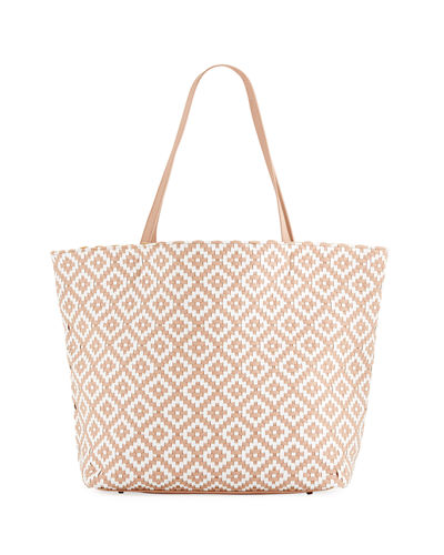 Diamond-Woven Shoulder Tote Bag