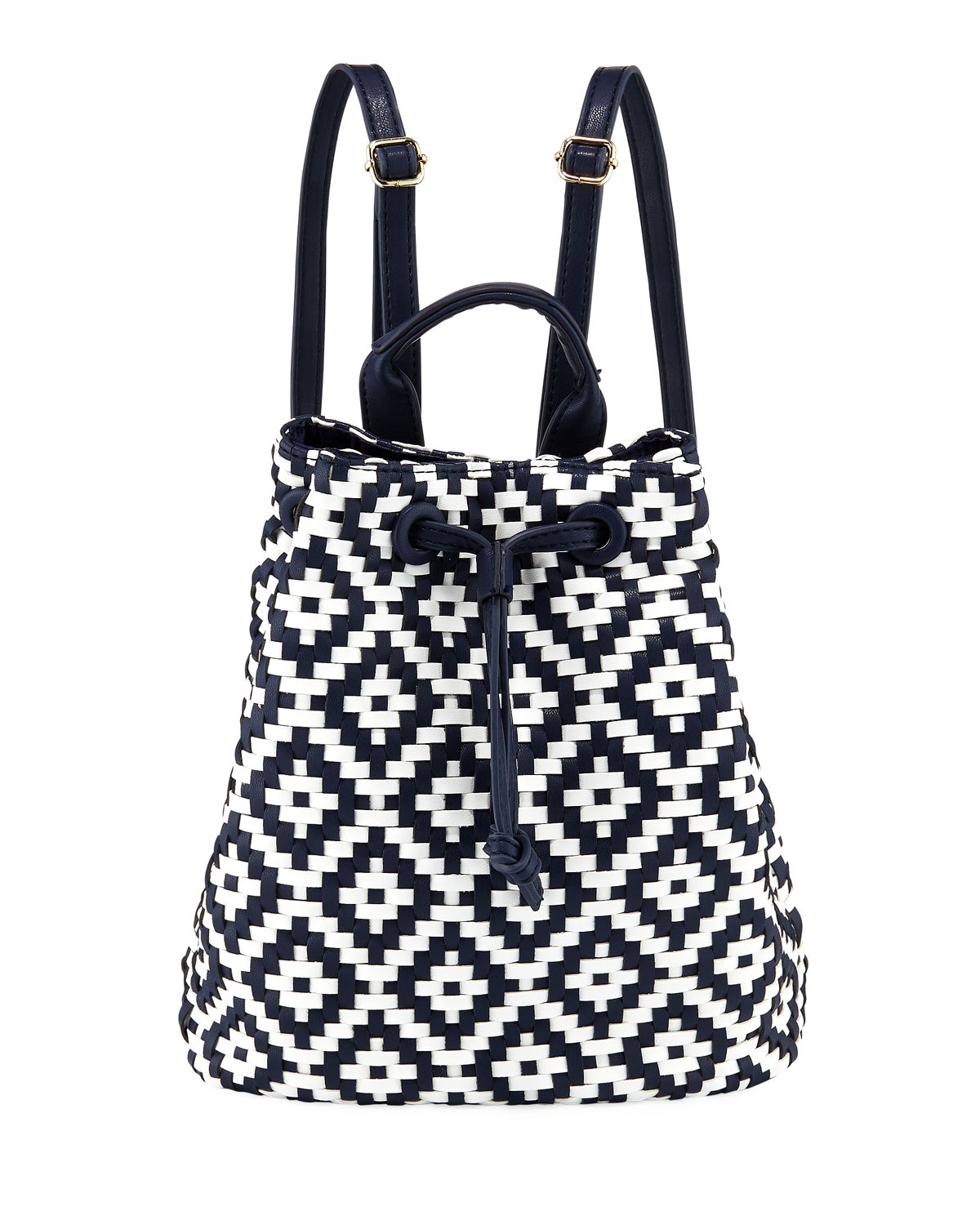Diamond Weave Drawstring Backpack