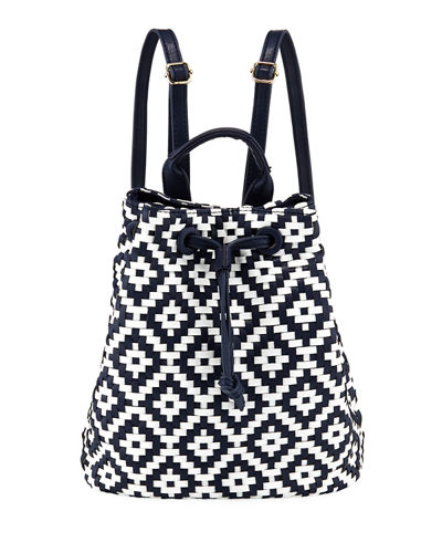 Diamond-Weave Drawstring Backpack