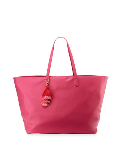 Faux-Saffiano Shoulder Tote Bag with Tassel