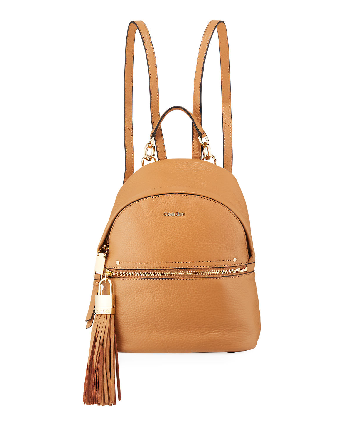Lynn Pebble Leather Backpack with Tassel