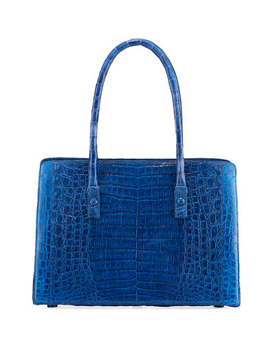 Crocodile Stud-Handle Tote Bag
