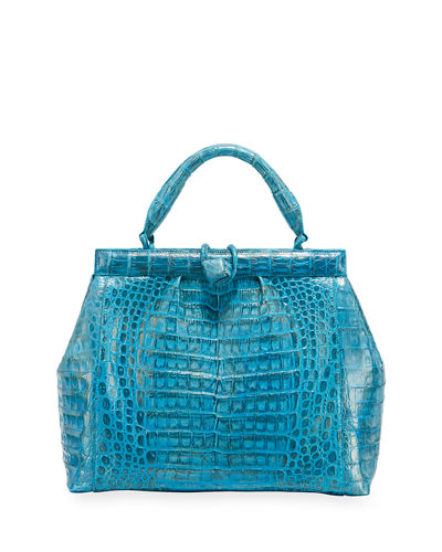 Crocodile Medium Pleated Satchel Bag