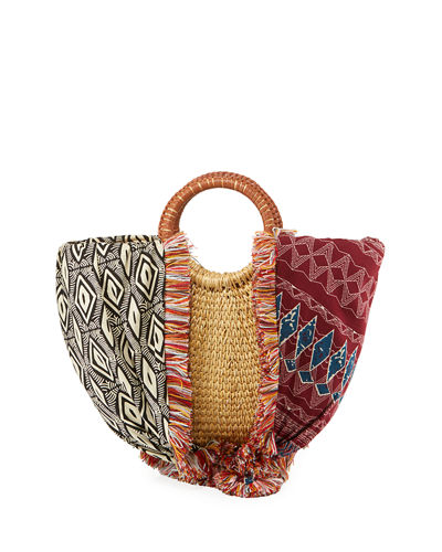 Sam Edelman Adira Straw Paper Basket Satchel Bag