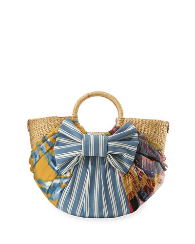 Jaelynn Straw Paper Basket Satchel Bag