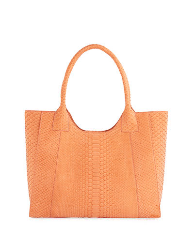 Large Python Dip-Top Tote Bag