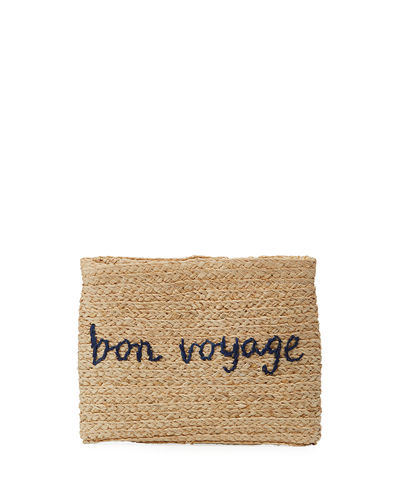 Whimsical Embroidered Raffia Clutch Bag