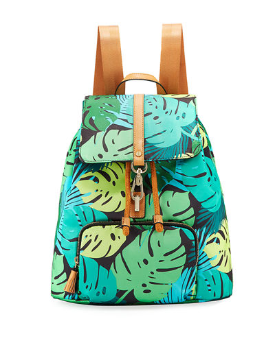Bree Leaf-Print Nylon Backpack