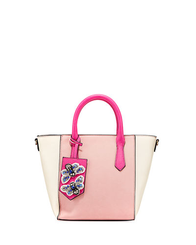 Bella Colorblock Satchel Bag with Bee Charm