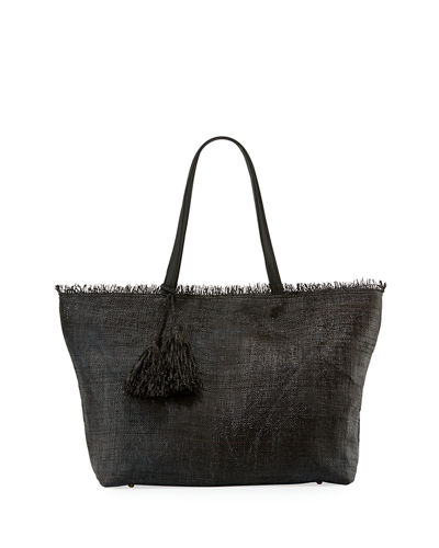 Tassel Straw Shoulder Tote Bag